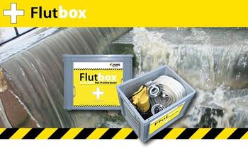 Flutbox inkl. U5KS mit 10m Kabel, Tragekorb, 12,5m Feuerwehrschlauch mieten leihen
